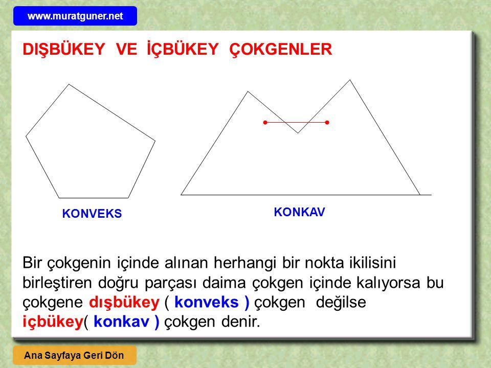 KONVEKS KONKAV Bir çokgenin içinde alınan herhangi bir nokta ikilisini birleştiren doğru parçası daima çokgen içinde kalıyorsa bu çokgene dışbükey ( konveks ) çokgen değilse içbükey( konkav ) çokgen denir.