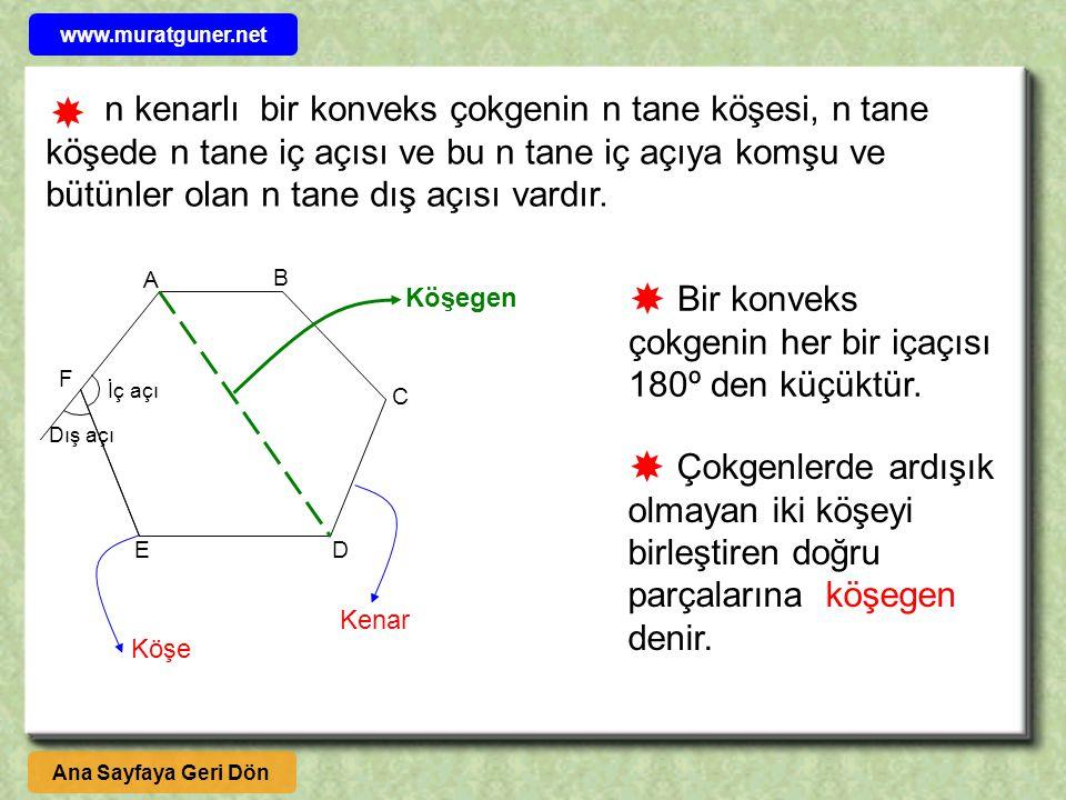 n kenarlı bir konveks çokgenin n tane köşesi, n tane köşede n tane iç açısı ve bu n tane iç açıya komşu ve bütünler olan n tane dış açısı vardır.