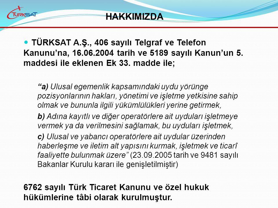 TÜRKSAT A.Ş., 406 sayılı Telgraf ve Telefon Kanunu'na, 16.06.2004 tarih ve 5189 sayılı Kanun'un 5.