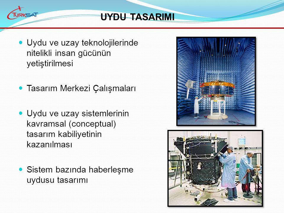 Uydu ve uzay teknolojilerinde nitelikli insan gücünün yetiştirilmesi Tasarım Merkezi Çalışmaları Uydu ve uzay sistemlerinin kavramsal (conceptual) tasarım kabiliyetinin kazanılması Sistem bazında haberleşme uydusu tasarımı UYDU TASARIMI