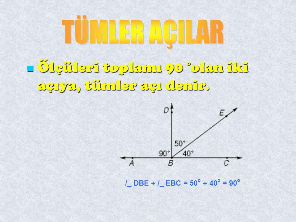 Ölçüleri toplamı 90 º olan iki açıya, tümler açı denir. Ölçüleri toplamı 90 º olan iki açıya, tümler açı denir. /_ DBE + /_ EBC = 50 o + 40 o = 90 o