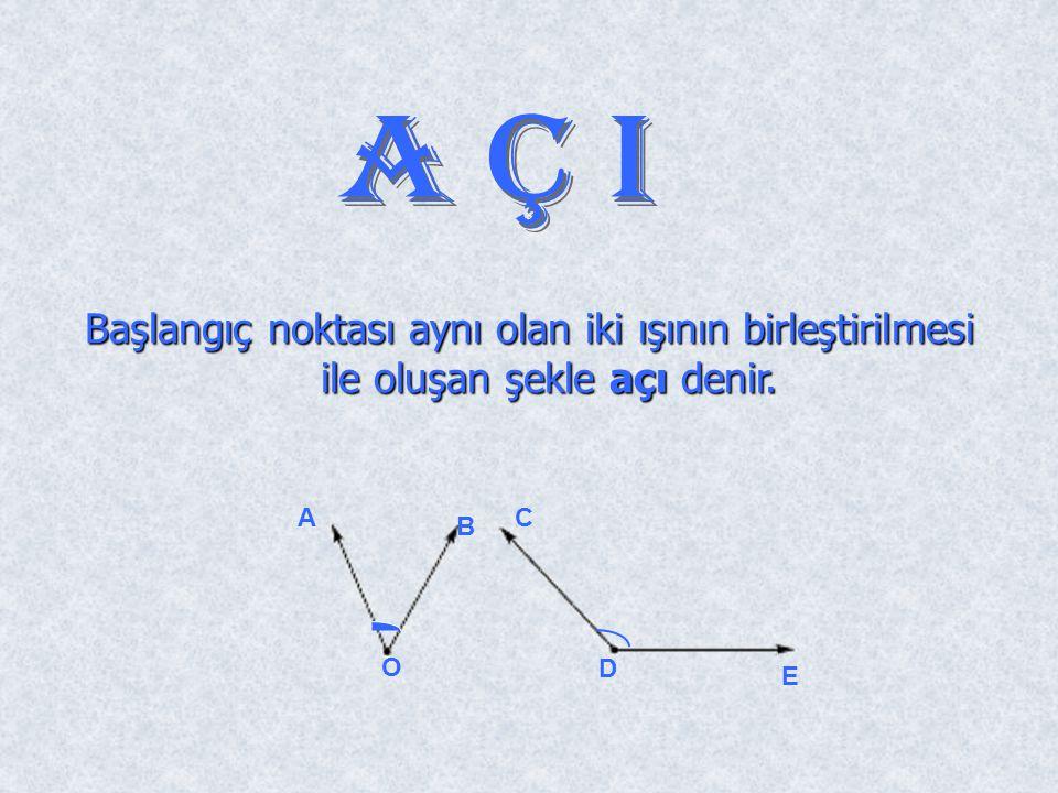 Başlangıç noktası aynı olan iki ışının birleştirilmesi ile oluşan şekle açı denir. D E A O B C