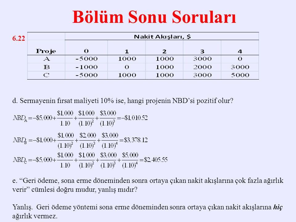 Bölüm Sonu Soruları 6.22 d.Sermayenin fırsat maliyeti 10% ise, hangi projenin NBD'si pozitif olur.