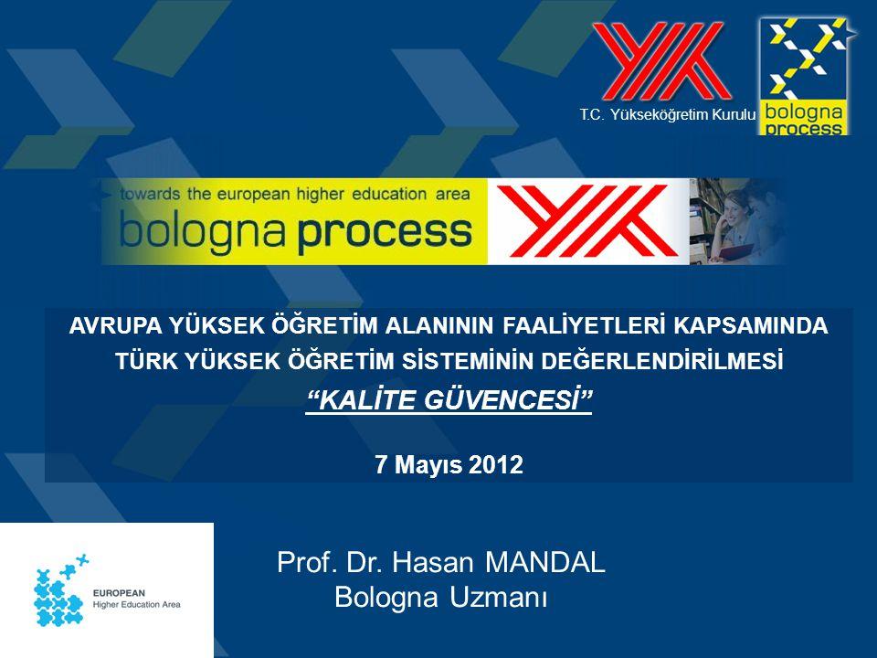 T.C. Yükseköğretim Kurulu Prof. Dr. Hasan MANDAL Bologna Uzmanı AVRUPA YÜKSEK ÖĞRETİM ALANININ FAALİYETLERİ KAPSAMINDA TÜRK YÜKSEK ÖĞRETİM SİSTEMİNİN