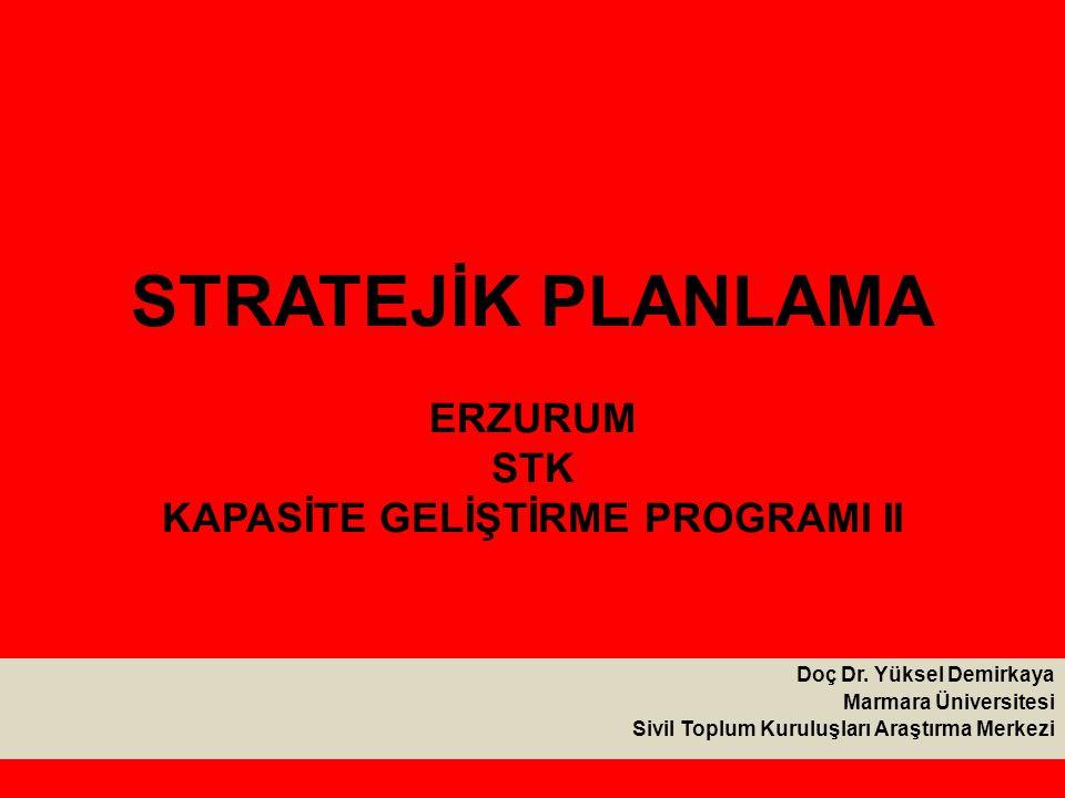 STRATEJİK PLANLAMA ERZURUM STK KAPASİTE GELİŞTİRME PROGRAMI II Doç Dr.