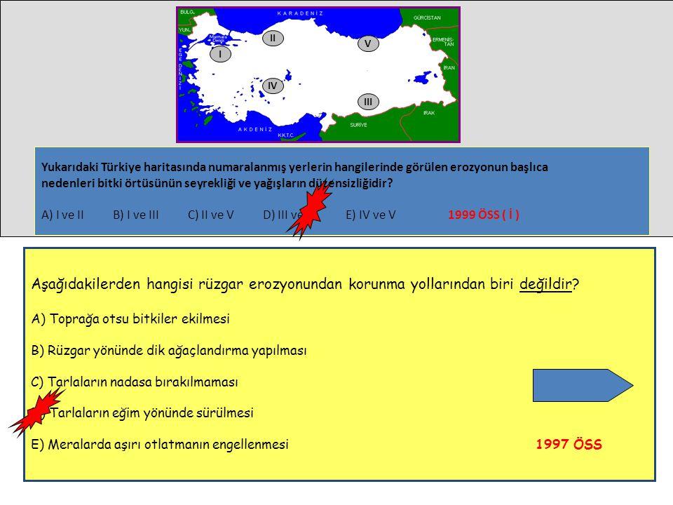 IV I V II III Yukarıdaki Türkiye haritasında numaralanmış yerlerin hangilerinde görülen erozyonun başlıca nedenleri bitki örtüsünün seyrekliği ve yağı