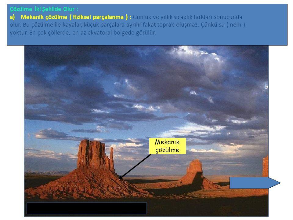 Çözülme İki Şekilde Olur : a)Mekanik çözülme ( fiziksel parçalanma ) : Günlük ve yıllık sıcaklık farkları sonucunda olur. Bu çözülme ile kayalar, küçü
