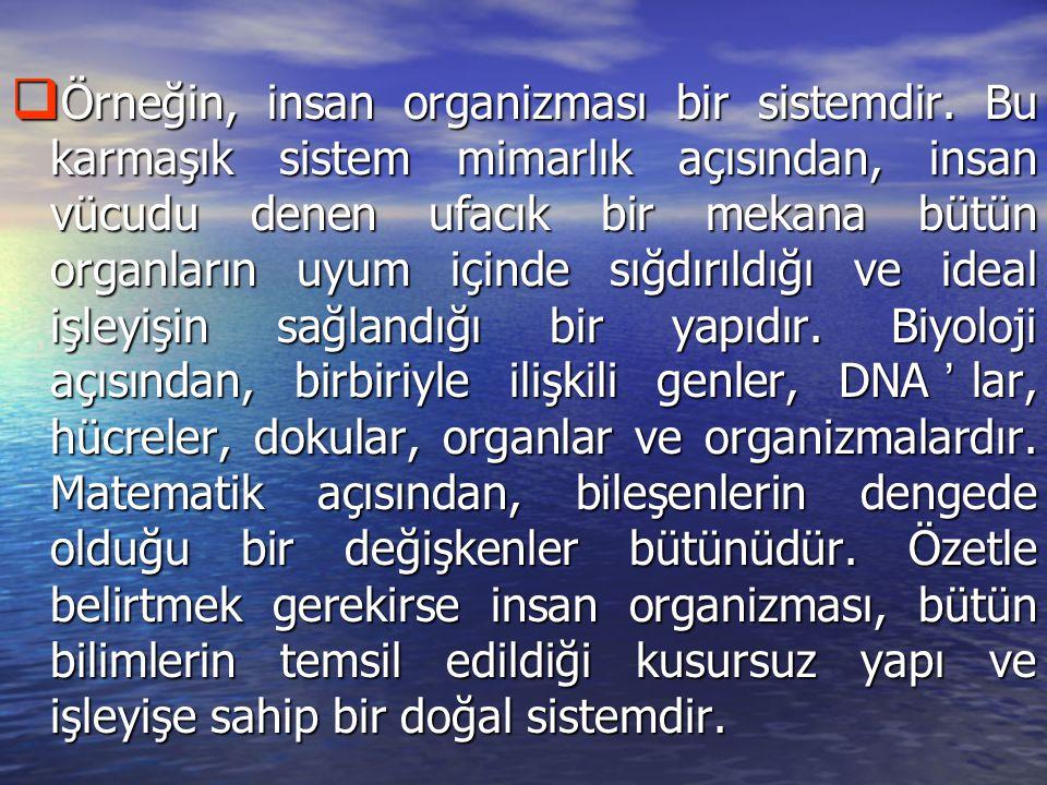  Örneğin, insan organizması bir sistemdir.