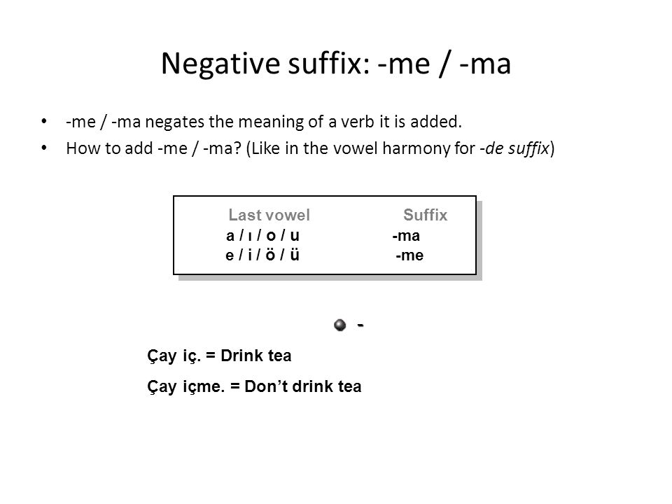 Negative suffix: -me / -ma -me / -ma negates the meaning of a verb it is added.
