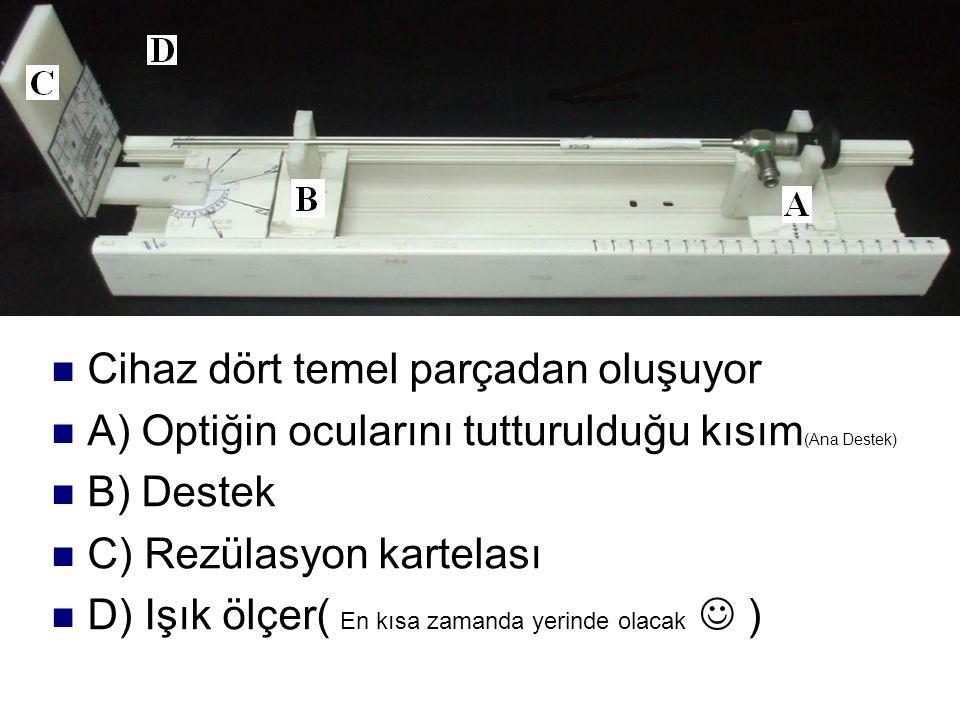 Cihaz dört temel parçadan oluşuyor A) Optiğin ocularını tutturulduğu kısım (Ana Destek) B) Destek C) Rezülasyon kartelası D) Işık ölçer( En kısa zaman