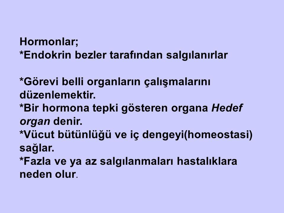 Hormonlar; *Endokrin bezler tarafından salgılanırlar *Görevi belli organların çalışmalarını düzenlemektir. *Bir hormona tepki gösteren organa Hedef or