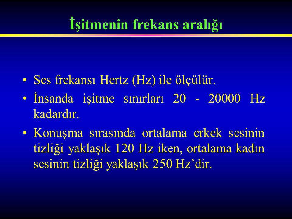 Ses frekansı Hertz (Hz) ile ölçülür. İnsanda işitme sınırları 20 - 20000 Hz kadardır. Konuşma sırasında ortalama erkek sesinin tizliği yaklaşık 120 Hz