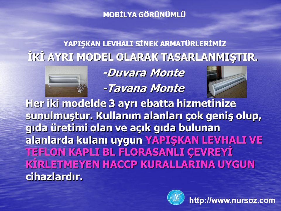 MOBİLYA GÖRÜNÜMLÜ İKİ AYRI MODEL OLARAK TASARLANMIŞTIR. -Duvara Monte -Tavana Monte Her iki modelde 3 ayrı ebatta hizmetinize sunulmuştur. Kullanım al
