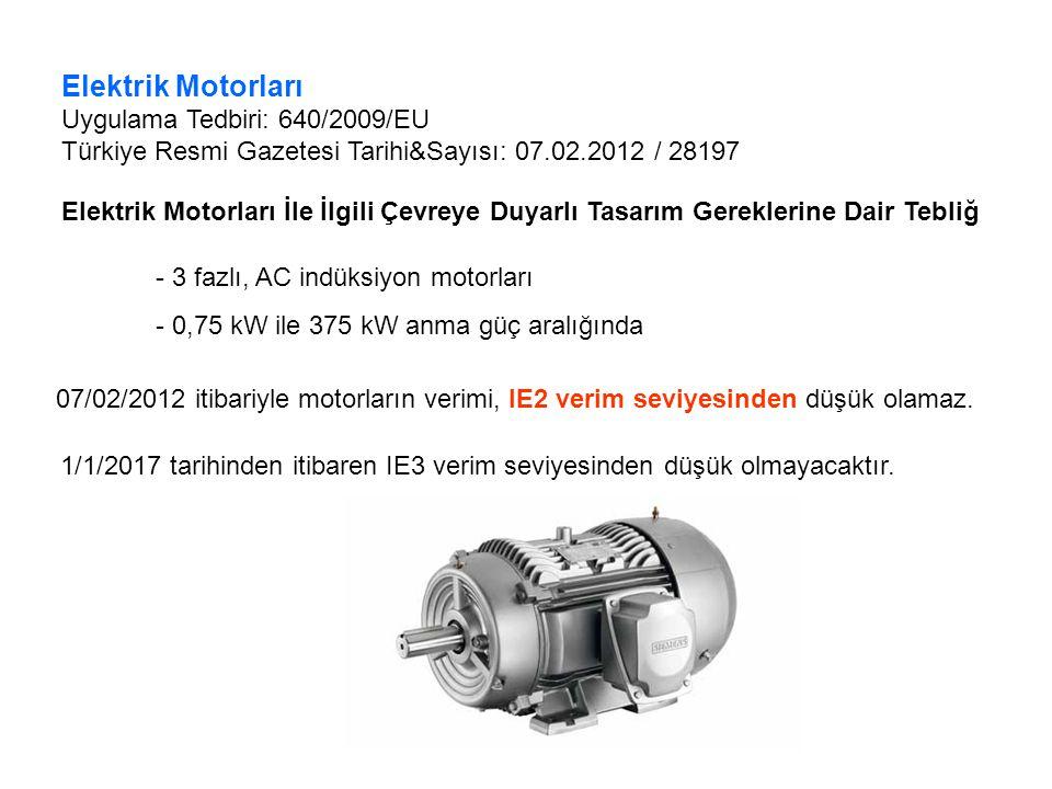 Elektrik Motorları Uygulama Tedbiri: 640/2009/EU Türkiye Resmi Gazetesi Tarihi&Sayısı: 07.02.2012 / 28197 Elektrik Motorları İle İlgili Çevreye Duyarl