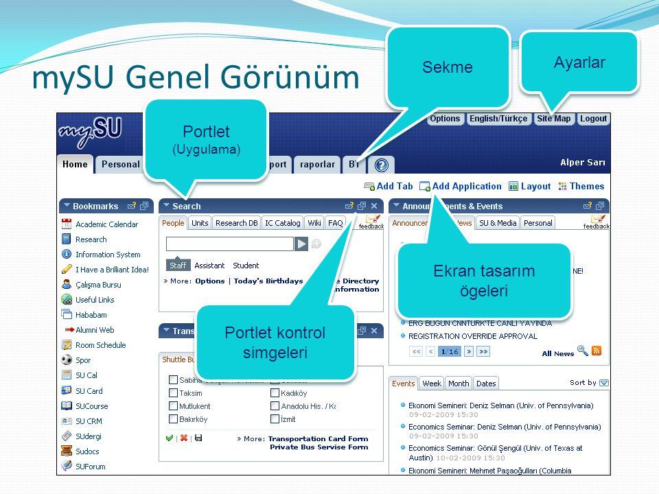 mySU Genel Görünüm Sekme Portlet (Uygulama) Portlet kontrol simgeleri Ekran tasarım ögeleri Ayarlar