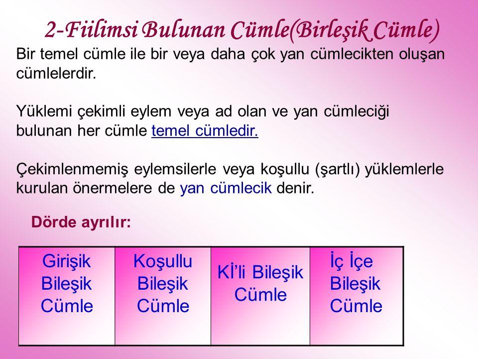 2-Fiilimsi Bulunan Cümle(Birleşik Cümle) Girişik Bileşik Cümle Koşullu Bileşik Cümle Kİ'li Bileşik Cümle İç İçe Bileşik Cümle Bir temel cümle ile bir