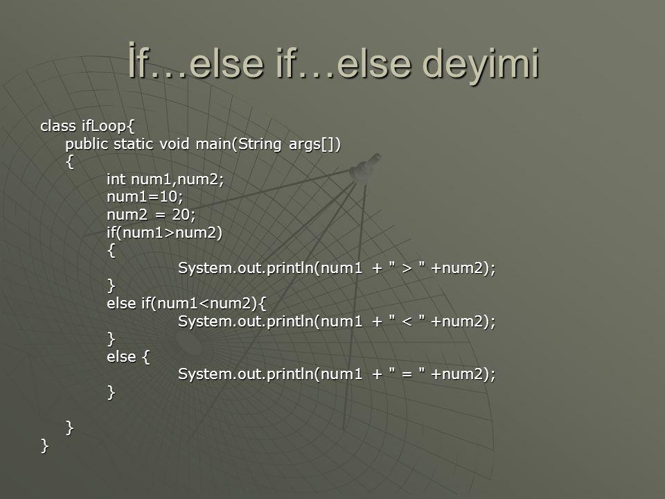 İf…else if…else deyimi class ifLoop{ public static void main(String args[]) { int num1,num2; num1=10; num2 = 20; if(num1>num2){ System.out.println(num
