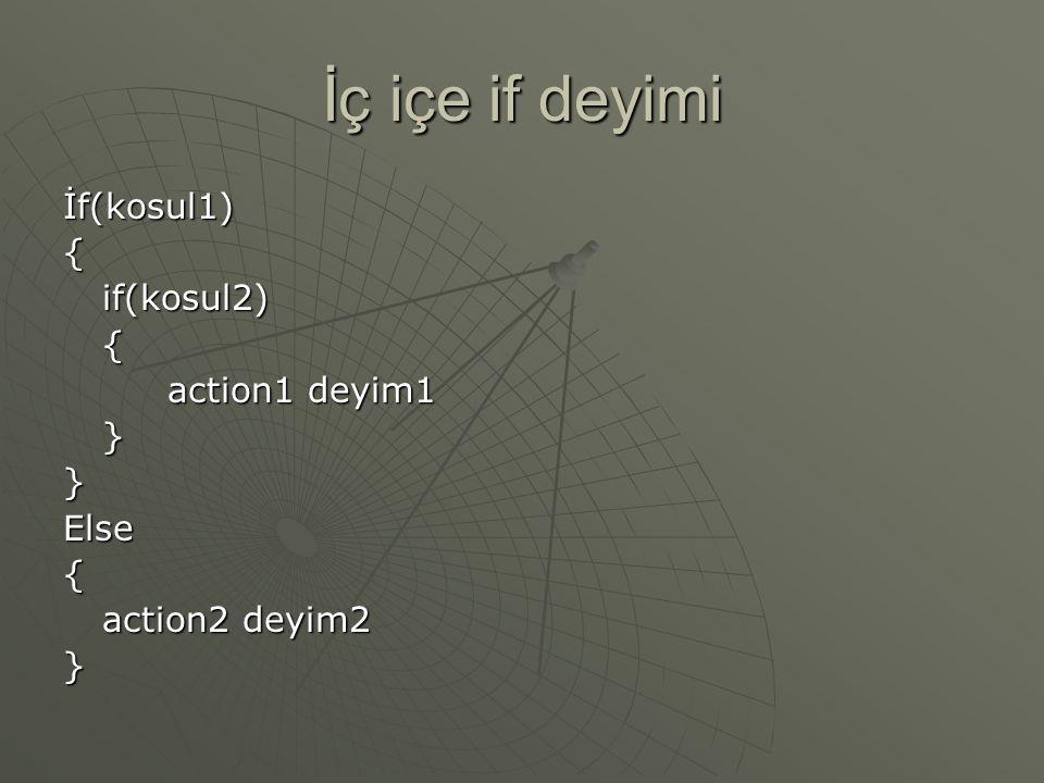 İç içe if deyimi İf(kosul1){if(kosul2){ action1 deyim1 }}Else{ action2 deyim2 }