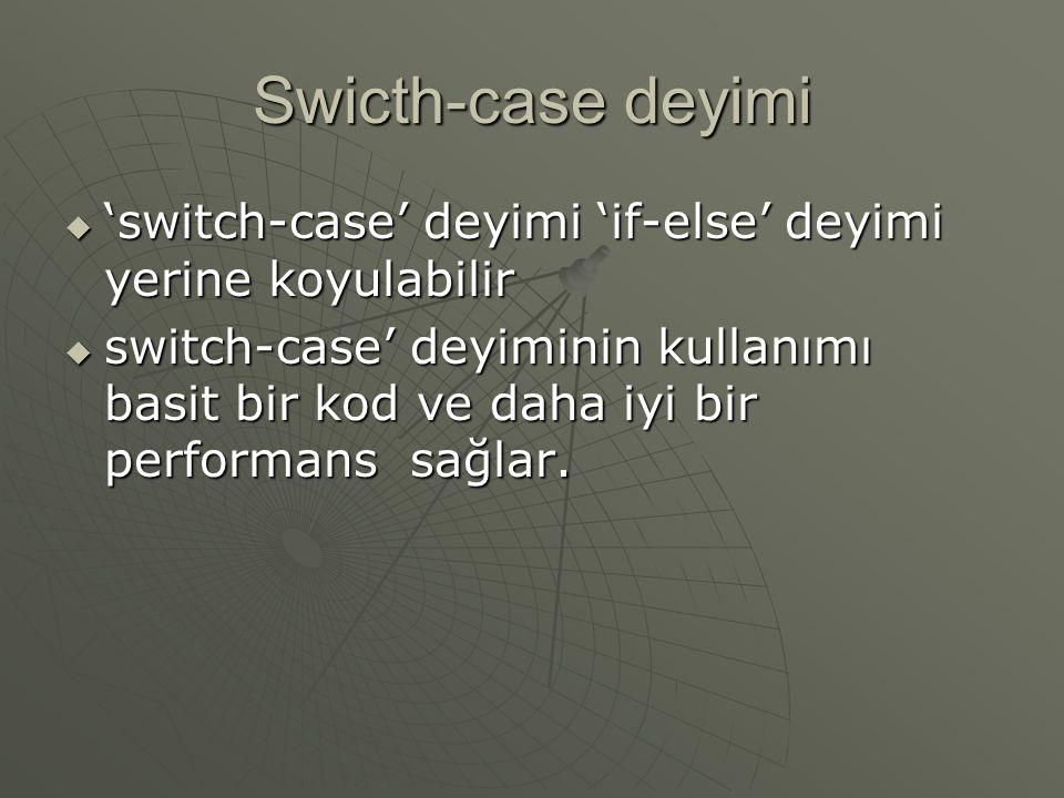 Swicth-case deyimi  'switch-case' deyimi 'if-else' deyimi yerine koyulabilir  switch-case' deyiminin kullanımı basit bir kod ve daha iyi bir perform
