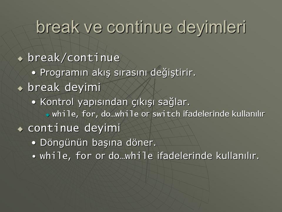 break ve continue deyimleri  break/continue Programın akış sırasını değiştirir.Programın akış sırasını değiştirir.  break deyimi Kontrol yapısından