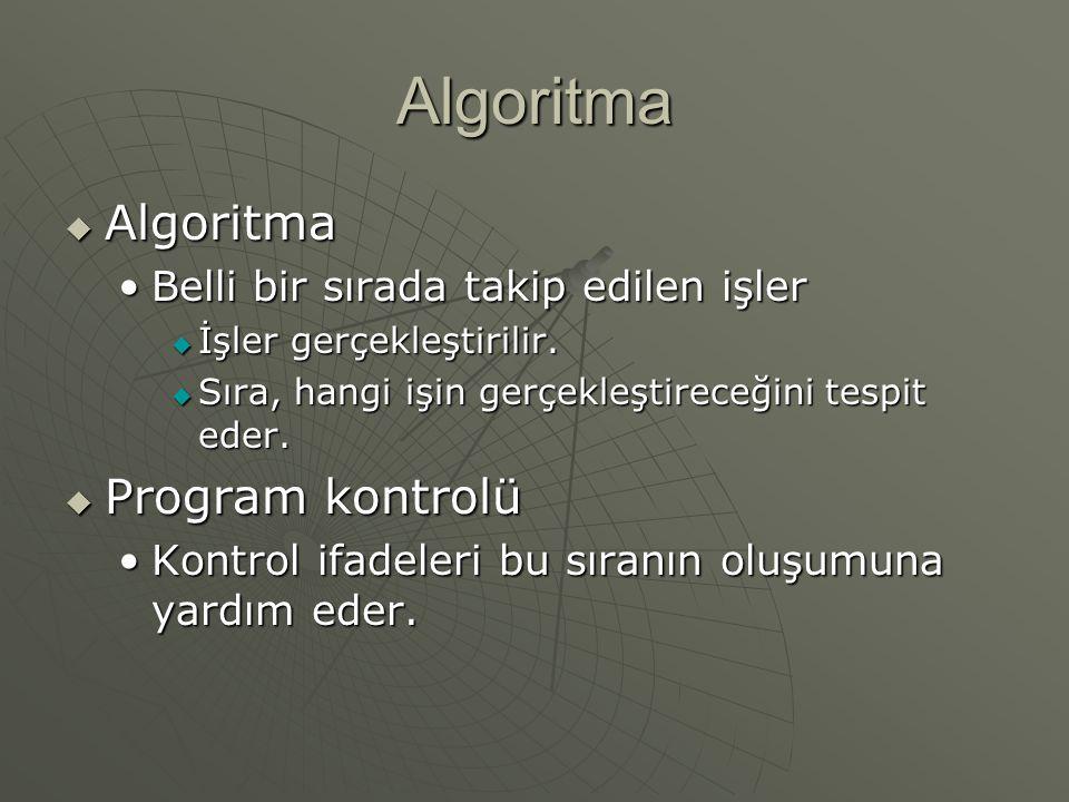 Algoritma  Algoritma Belli bir sırada takip edilen işlerBelli bir sırada takip edilen işler  İşler gerçekleştirilir.  Sıra, hangi işin gerçekleştir