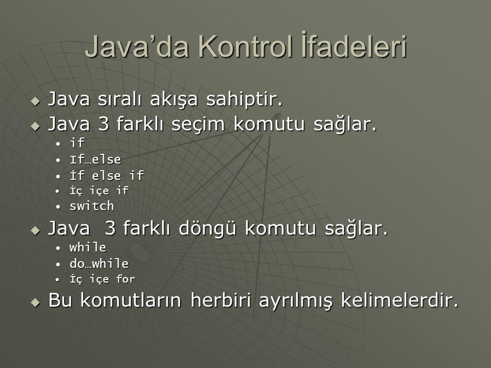 İç içe if deyimi class ifLoop{ public static void main(String args[]) { String ad = Ahmet ; String soyAd = Demirci ; if( ad = Ahmet ) { if( soyAd = Demirci ) if( soyAd = Demirci ) { { System.out.println( Ahmet Demirciyi buldum ); System.out.println( Ahmet Demirciyi buldum ); }} else { System.out.println( Ahmet Demirciyi bulamadım ); System.out.println( Ahmet Demirciyi bulamadım );}}}