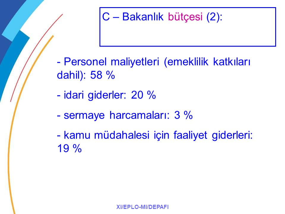 XI/EPLO-MI/DEPAFI - Personel maliyetleri (emeklilik katkıları dahil): 58 % - idari giderler: 20 % - sermaye harcamaları: 3 % - kamu müdahalesi için fa