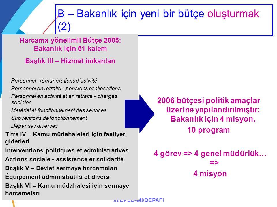XI/EPLO-MI/DEPAFI B – Bakanlık için yeni bir bütçe oluşturmak (2) Harcama yönelimli Bütçe 2005: Bakanlık için 51 kalem Başlık III – Hizmet imkanları P