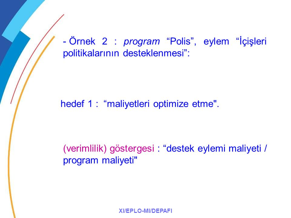 """XI/EPLO-MI/DEPAFI - Örnek 2 : program """"Polis"""", eylem """"İçişleri politikalarının desteklenmesi"""": hedef 1 : """"maliyetleri optimize etme"""