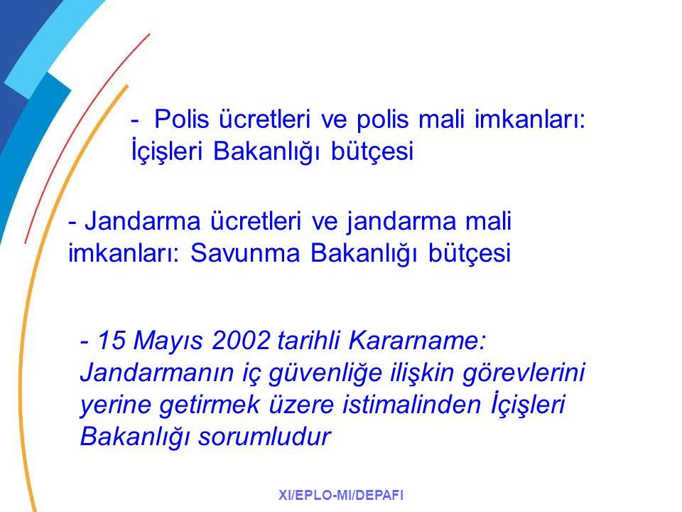 XI/EPLO-MI/DEPAFI - Polis ücretleri ve polis mali imkanları: İçişleri Bakanlığı bütçesi - Jandarma ücretleri ve jandarma mali imkanları: Savunma Bakanlığı bütçesi - 15 Mayıs 2002 tarihli Kararname: Jandarmanın iç güvenliğe ilişkin görevlerini yerine getirmek üzere istimalinden İçişleri Bakanlığı sorumludur