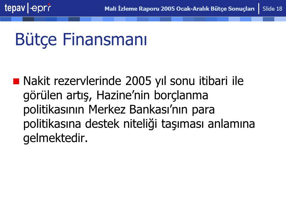 Mali İzleme Raporu 2005 Ocak-Aralık Bütçe Sonuçları Slide 18 Bütçe Finansmanı Nakit rezervlerinde 2005 yıl sonu itibari ile görülen artış, Hazine'nin borçlanma politikasının Merkez Bankası'nın para politikasına destek niteliği taşıması anlamına gelmektedir.