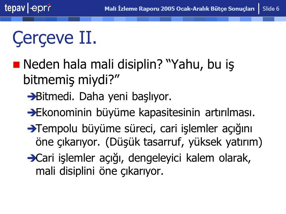 Mali İzleme Raporu 2005 Ocak-Aralık Bütçe Sonuçları Slide 6 Çerçeve II.
