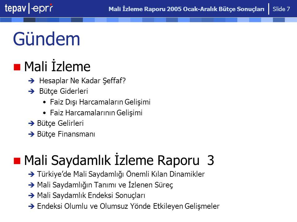 Mali İzleme Raporu 2005 Ocak-Aralık Bütçe Sonuçları Slide 7 Gündem Mali İzleme  Hesaplar Ne Kadar Şeffaf.