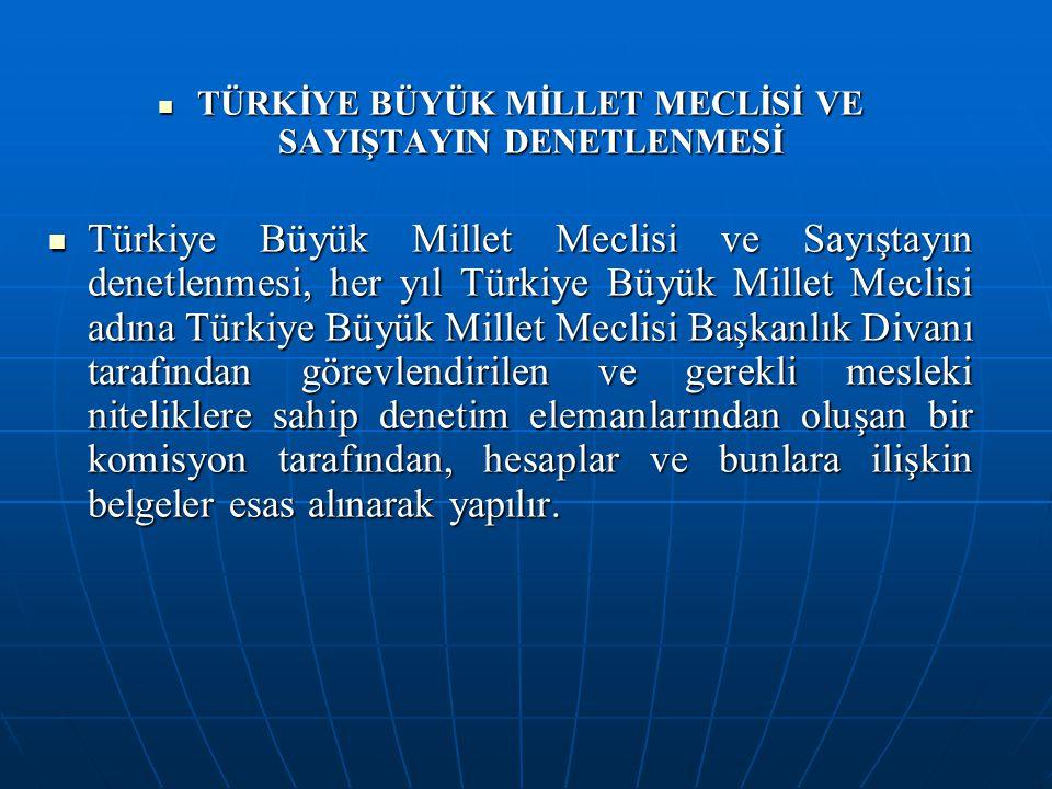 TÜRKİYE BÜYÜK MİLLET MECLİSİ VE SAYIŞTAYIN DENETLENMESİ TÜRKİYE BÜYÜK MİLLET MECLİSİ VE SAYIŞTAYIN DENETLENMESİ Türkiye Büyük Millet Meclisi ve Sayışt