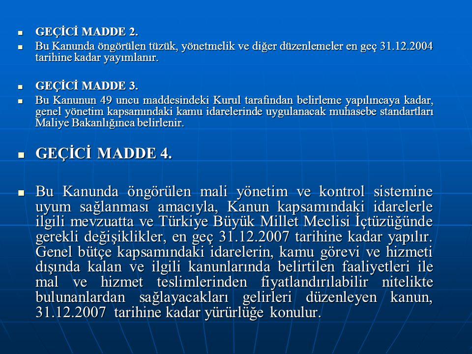 GEÇİCİ MADDE 2. GEÇİCİ MADDE 2. Bu Kanunda öngörülen tüzük, yönetmelik ve diğer düzenlemeler en geç 31.12.2004 tarihine kadar yayımlanır. Bu Kanunda ö
