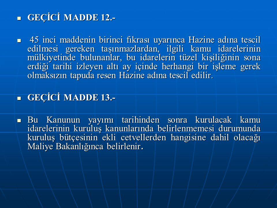 GEÇİCİ MADDE 12.- GEÇİCİ MADDE 12.- 45 inci maddenin birinci fıkrası uyarınca Hazine adına tescil edilmesi gereken taşınmazlardan, ilgili kamu idarele