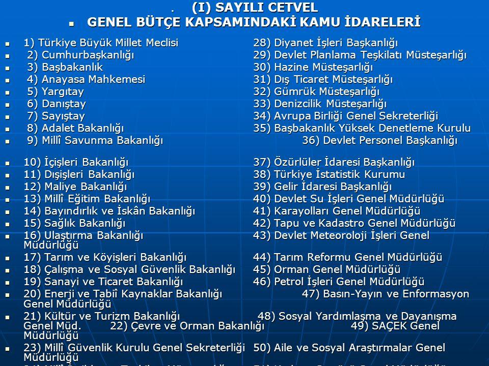 (I) SAYILI CETVEL (I) SAYILI CETVEL GENEL BÜTÇE KAPSAMINDAKİ KAMU İDARELERİ GENEL BÜTÇE KAPSAMINDAKİ KAMU İDARELERİ 1) Türkiye Büyük Millet Meclisi 28