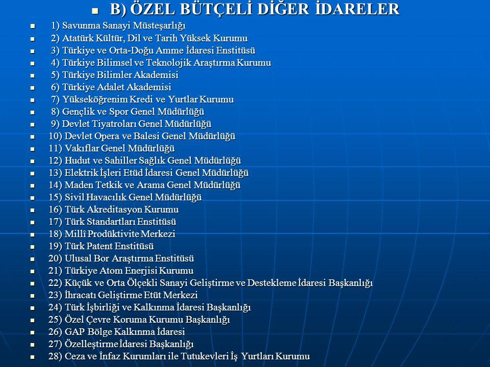 B) ÖZEL BÜTÇELİ DİĞER İDARELER B) ÖZEL BÜTÇELİ DİĞER İDARELER 1) Savunma Sanayi Müsteşarlığı 1) Savunma Sanayi Müsteşarlığı 2) Atatürk Kültür, Dil ve