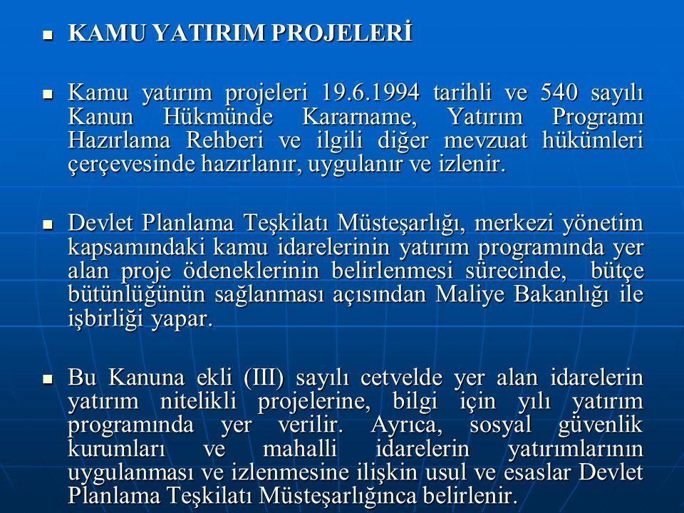 KAMU YATIRIM PROJELERİ KAMU YATIRIM PROJELERİ Kamu yatırım projeleri 19.6.1994 tarihli ve 540 sayılı Kanun Hükmünde Kararname, Yatırım Programı Hazırl