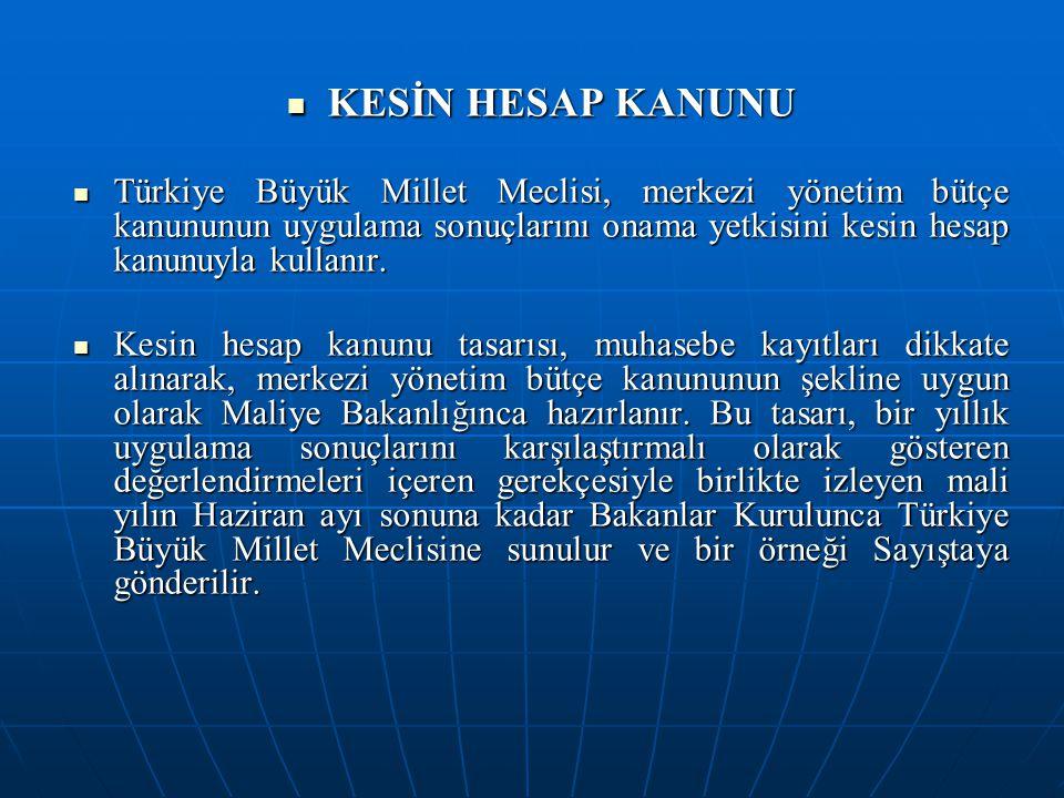 KESİN HESAP KANUNU KESİN HESAP KANUNU Türkiye Büyük Millet Meclisi, merkezi yönetim bütçe kanununun uygulama sonuçlarını onama yetkisini kesin hesap k