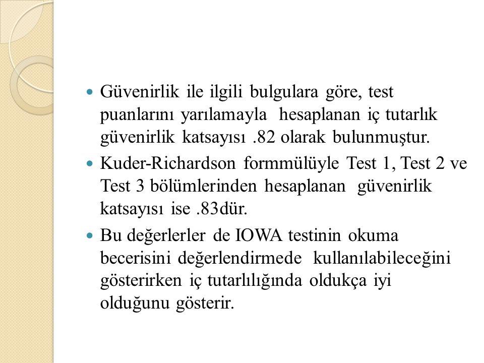 Güvenirlik ile ilgili bulgulara göre, test puanlarını yarılamayla hesaplanan iç tutarlık güvenirlik katsayısı.82 olarak bulunmuştur. Kuder-Richardson