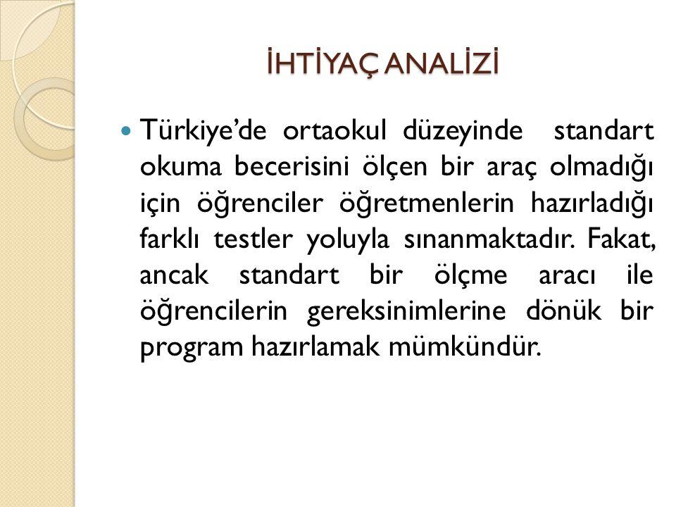 İ HT İ YAÇ ANAL İ Z İ Türkiye'de ortaokul düzeyinde standart okuma becerisini ölçen bir araç olmadı ğ ı için ö ğ renciler ö ğ retmenlerin hazırladı ğ