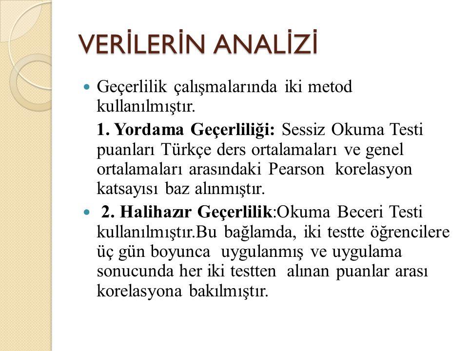 VER İ LER İ N ANAL İ Z İ Geçerlilik çalışmalarında iki metod kullanılmıştır. 1. Yordama Geçerliliği: Sessiz Okuma Testi puanları Türkçe ders ortalamal