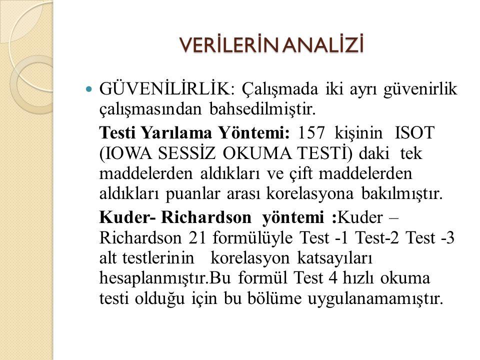 VER İ LER İ N ANAL İ Z İ GÜVENİLİRLİK: Çalışmada iki ayrı güvenirlik çalışmasından bahsedilmiştir. Testi Yarılama Yöntemi: 157 kişinin ISOT (IOWA SESS