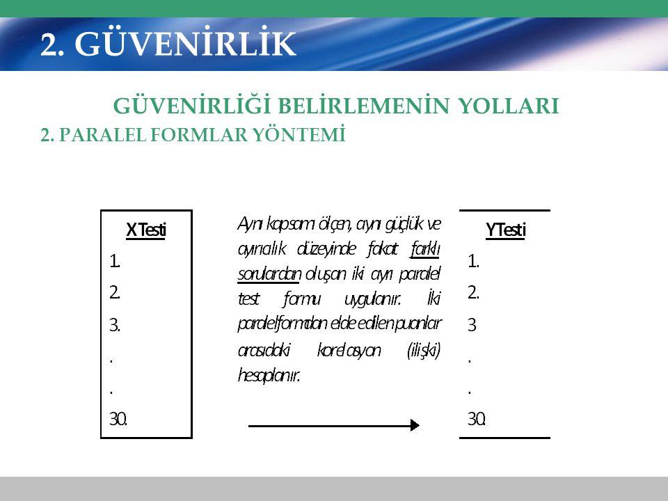 2. GÜVENİRLİK GÜVENİRLİĞİ BELİRLEMENİN YOLLARI 2. PARALEL FORMLAR YÖNTEMİ