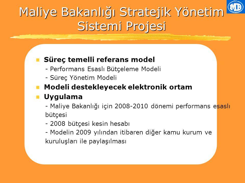 Maliye Bakanlığı Stratejik Yönetim Sistemi Projesi Süreç temelli referans model - Performans Esaslı Bütçeleme Modeli - Süreç Yönetim Modeli Modeli destekleyecek elektronik ortam Uygulama - Maliye Bakanlığı için 2008-2010 dönemi performans esaslı bütçesi - 2008 bütçesi kesin hesabı - Modelin 2009 yılından itibaren diğer kamu kurum ve kuruluşları ile paylaşılması