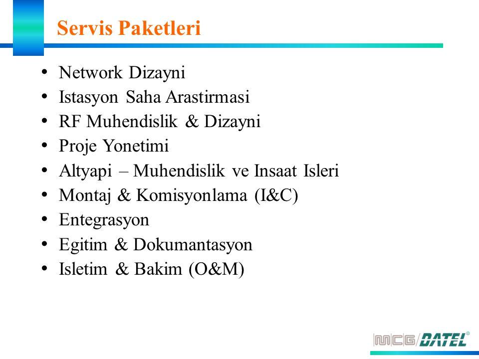 Servis Paketleri Network Dizayni Istasyon Saha Arastirmasi RF Muhendislik & Dizayni Proje Yonetimi Altyapi – Muhendislik ve Insaat Isleri Montaj & Komisyonlama (I&C) Entegrasyon Egitim & Dokumantasyon Isletim & Bakim (O&M)