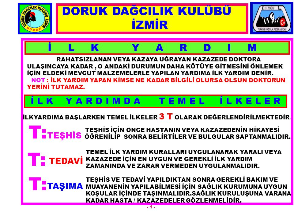 İ L K Y A R D I M RAHATSIZLANAN VEYA KAZAYA UĞRAYAN KAZAZEDE DOKTORA ULAŞINCAYA KADAR, O ANDAKİ DURUMUN DAHA KÖTÜYE GİTMESİNİ ÖNLEMEK İÇİN ELDEKİ MEVC