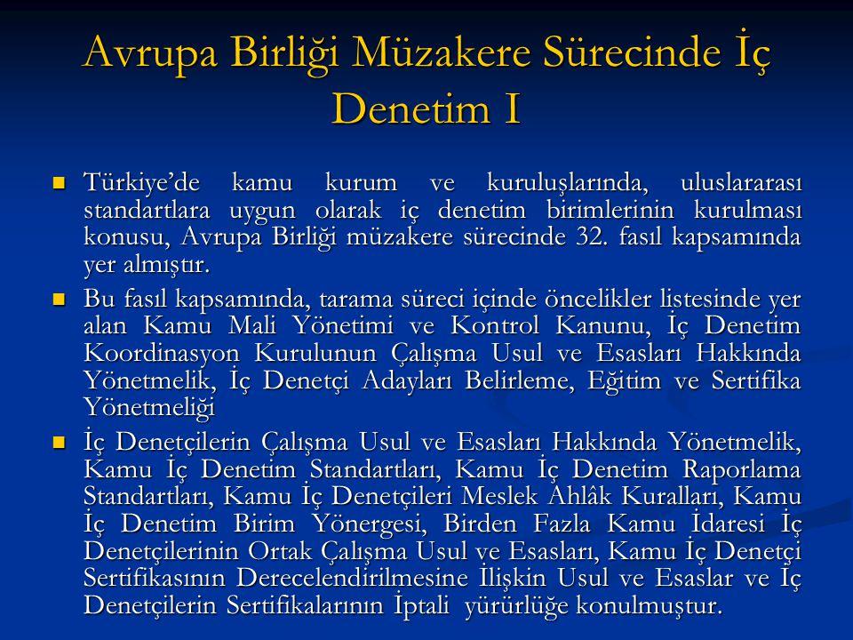 Avrupa Birliği Müzakere Sürecinde İç Denetim I Türkiye'de kamu kurum ve kuruluşlarında, uluslararası standartlara uygun olarak iç denetim birimlerinin kurulması konusu, Avrupa Birliği müzakere sürecinde 32.