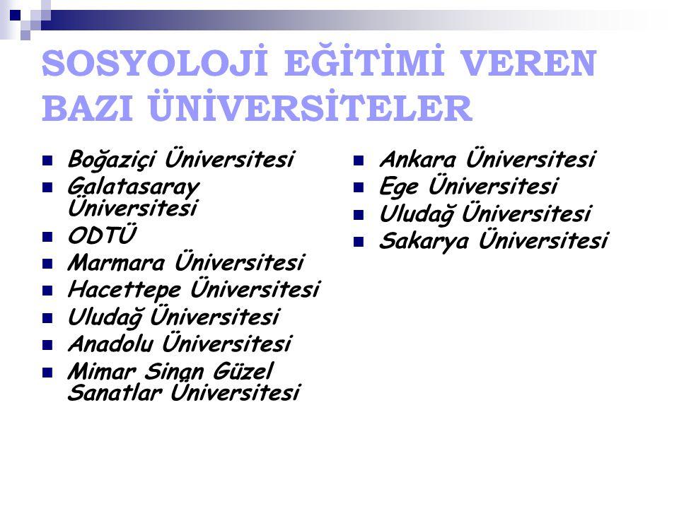 SOSYOLOJİ EĞİTİMİ VEREN BAZI ÜNİVERSİTELER Boğaziçi Üniversitesi Galatasaray Üniversitesi ODTÜ Marmara Üniversitesi Hacettepe Üniversitesi Uludağ Üniv